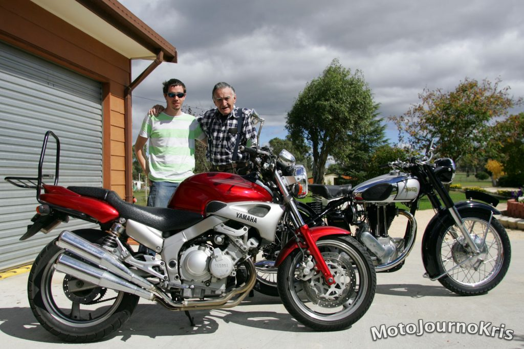 My grandfather and I, with my first bike - the FZX250, and one of his restored Nortons
